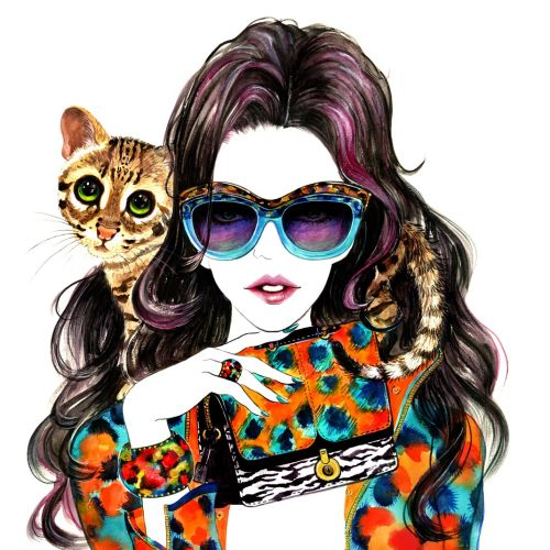 Portrait of Kenzo Girl with cat