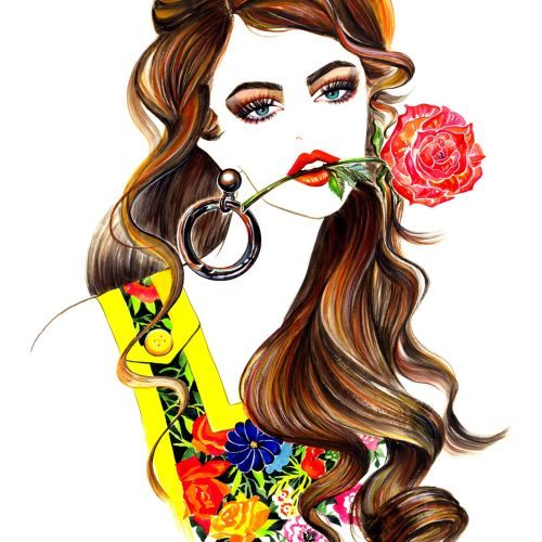 Beauty illustration of a stylish lady