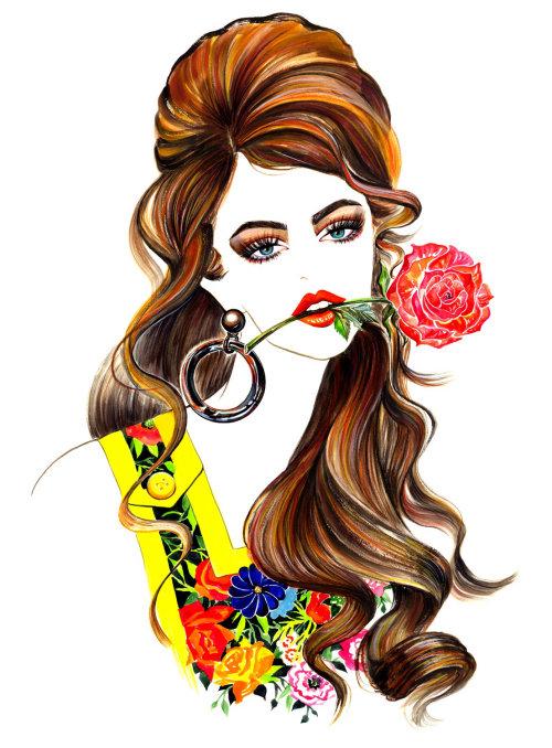 Beauty illustration of a stylish lady