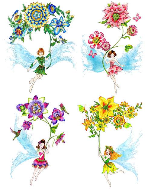 fairy, flower, nature, hummingbird, butterflies
