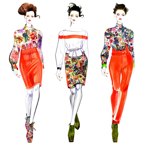 Fashion illustration of model in various clothes