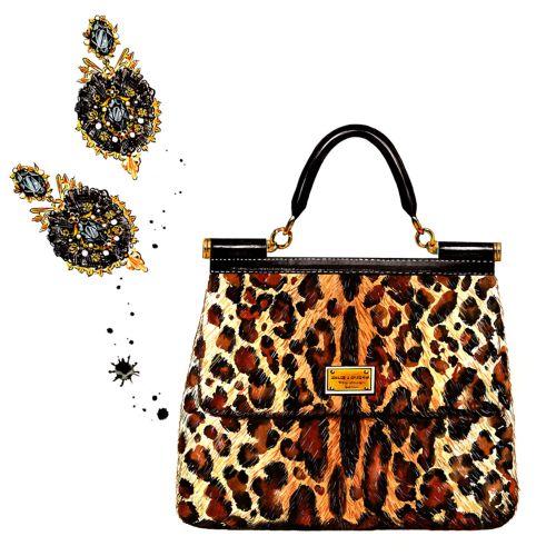 Painting leopard bag