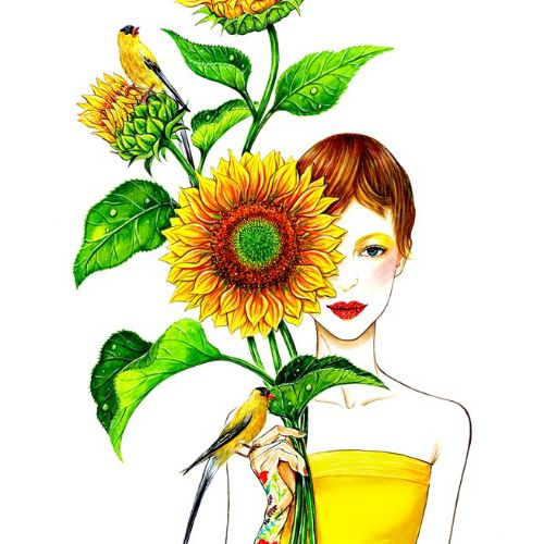 Watercolour painting of a lady holding sunflowers