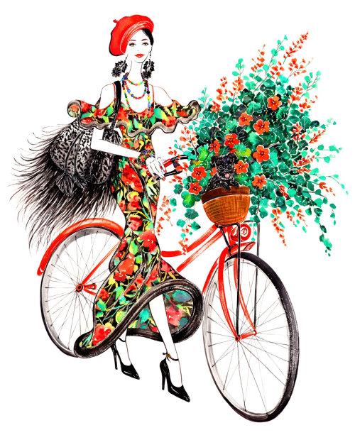 fille de vélo de style de vie
