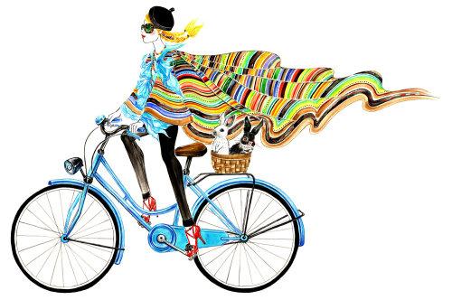 fille de vélo de style de vie avec des lapins