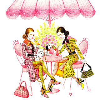Artwork of two fashion woman drinking cocktail