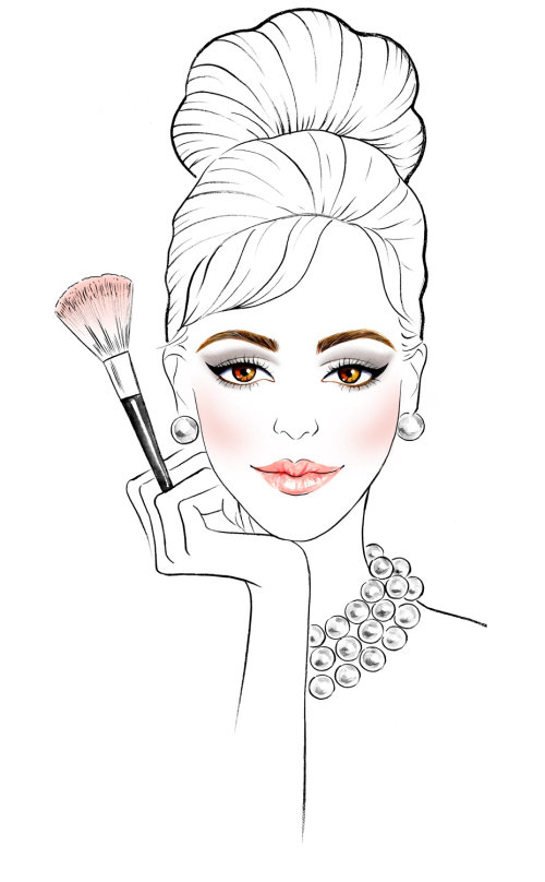 beauté avec pinceau de maquillage