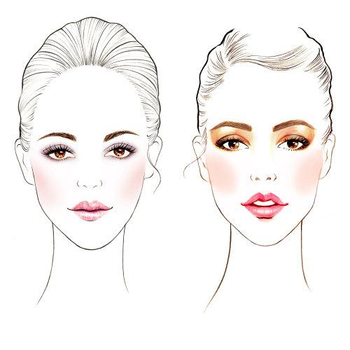 facechart de maquillage de beauté