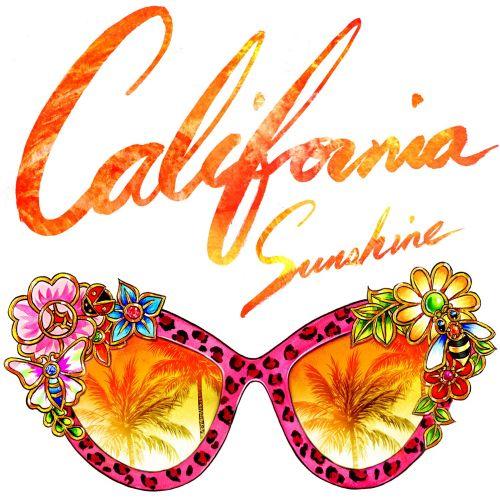 Lettering art design of California sunshine glasses