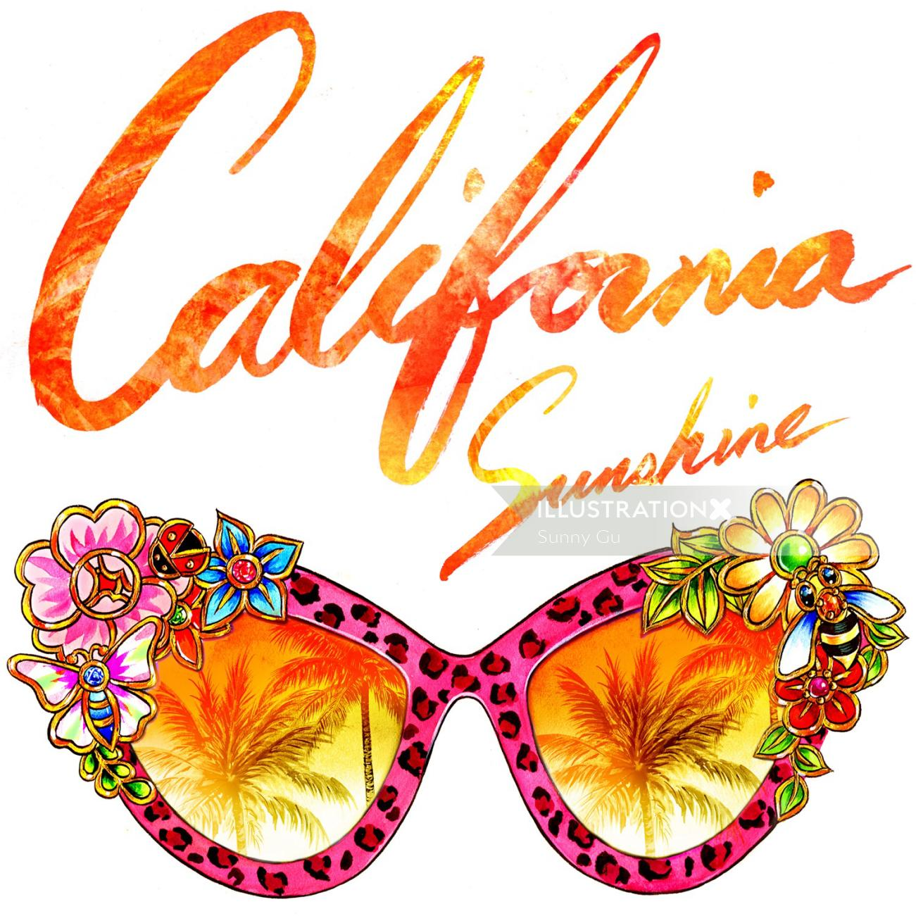 Lettering art design of California sunshine glasses