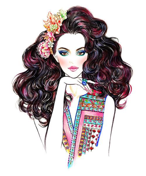 Stylish lady Brush painting by Sunny Gu illustrator