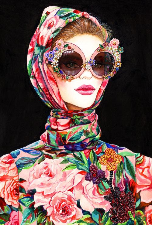 Peinture aquarelle de dame portant une robe faite de fleurs