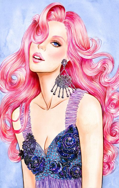 Peinture acrylique Dame glamour par un illustrateur basé à Los Angeles