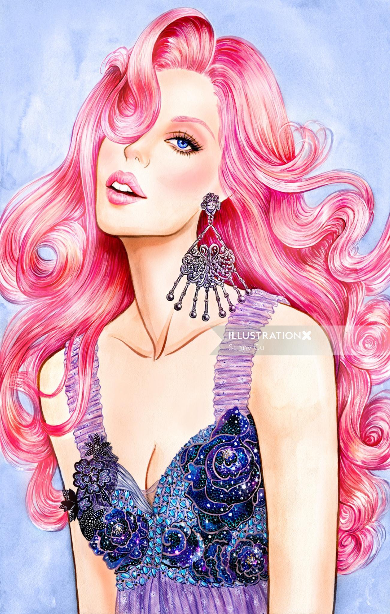 Glamorous lady acrylic painting by Los Angeles based illustrator
