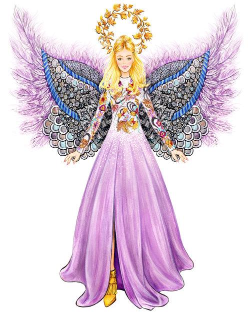 christmas, holiday, angel, fashion illustration, moschino