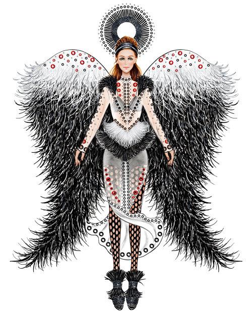 Noël, vacances, ange, illustration de mode, Moschino