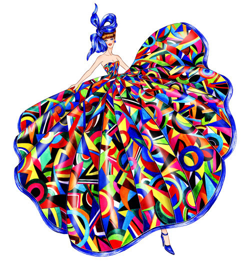 Fashion illustration of colorful Cinderella frock