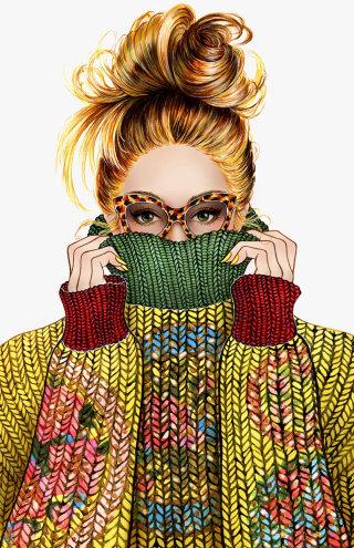 Woman portrait wearing winter floral sweater