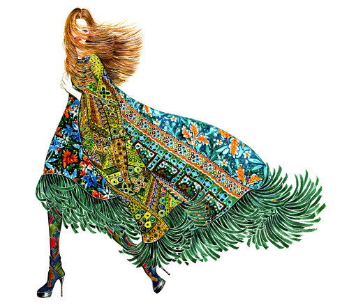 Illustration de mode de conception de tenue pour les jours venteux