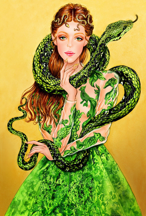 Serpent dress fashion illustration