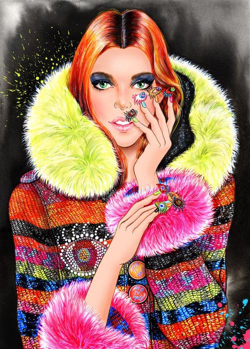 Peinture acrylique d'une dame montre ses ongles