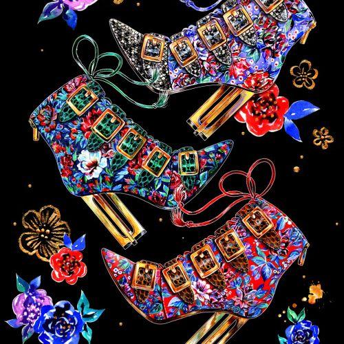 Decorative high heel shoes designed by Sunny Gu illustrator