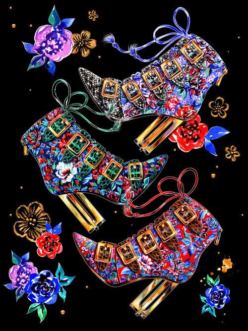 Chaussures décoratives à talons hauts conçues par l'illustrateur Sunny Gu