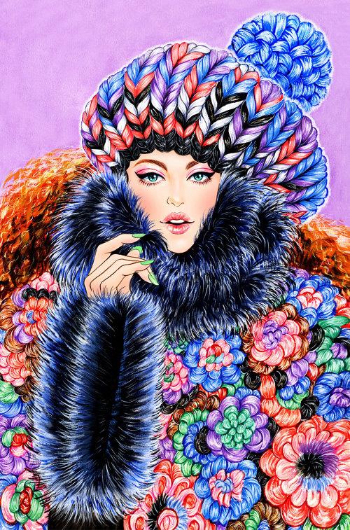 Fille portant l'art de la veste d'hiver