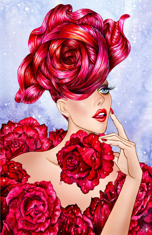 Portrait de jeune fille aux roses