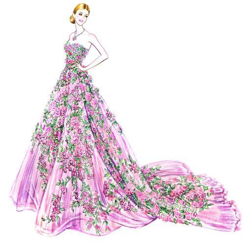 Stylish woman in floral dress fashion design