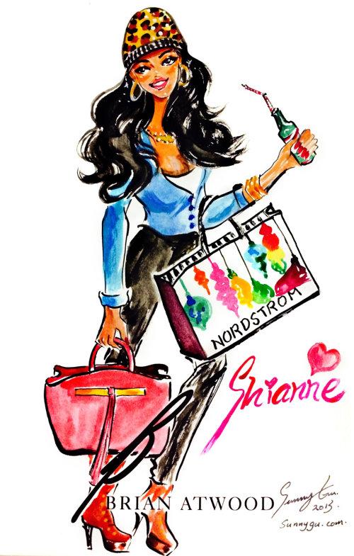Evento ao vivo desenhando uma mulher com uma bebida na mão