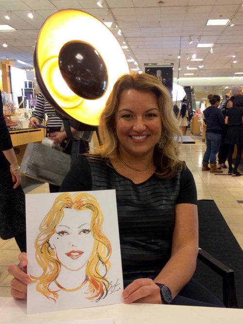 Desenho de evento ao vivo de menina com retrato