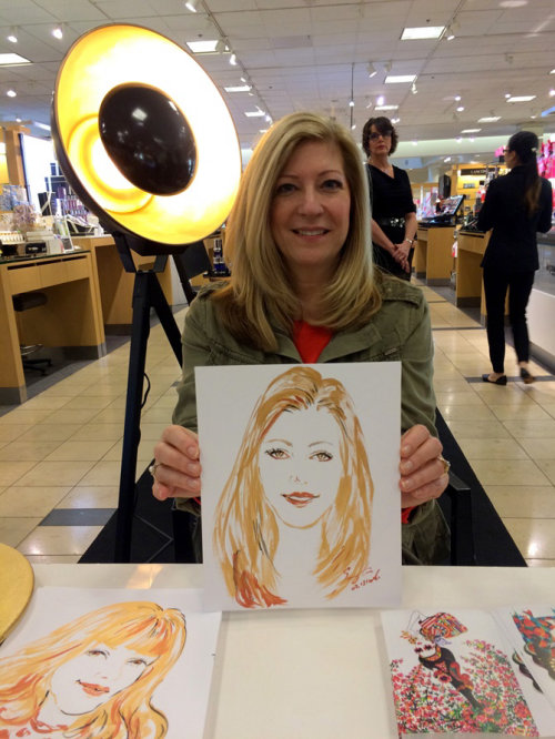 Evento ao vivo desenhando mulher com cabelo dourado