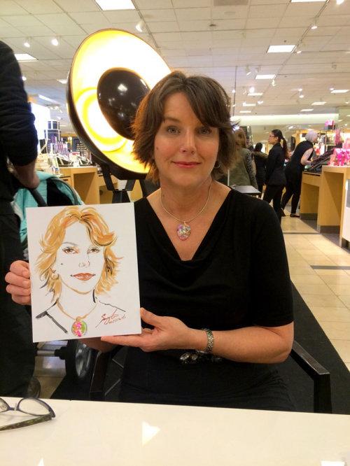 Desenho de evento ao vivo de mulher com retrato