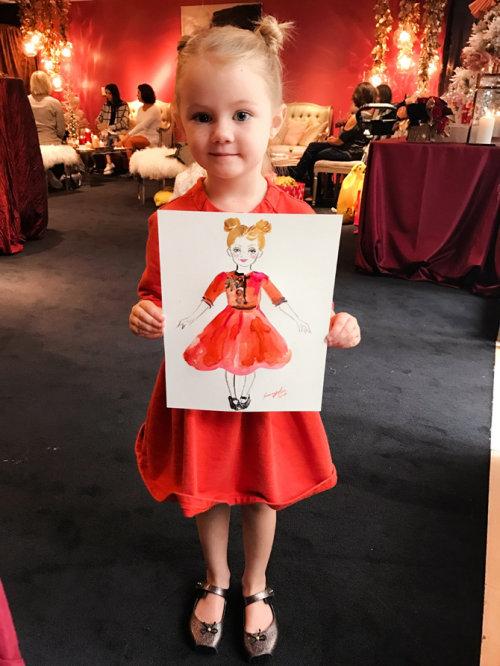 Desenho de evento ao vivo de uma menina de vestido vermelho