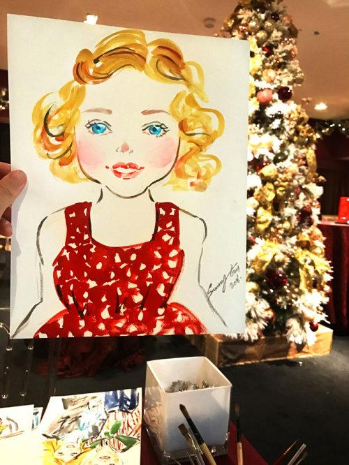 Desenho de evento ao vivo de uma linda garota