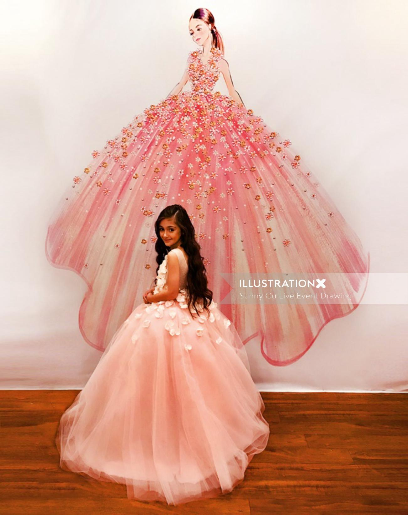 Beautiful pink gown design by Sunny Gu