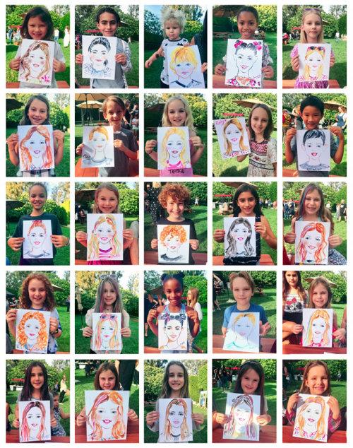 Evento ao vivo desenhando crianças com retratos