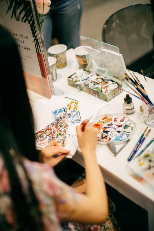 Desenho de evento ao vivo de modelo de moda