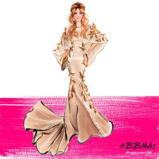 Beautiful Beige gown illustration