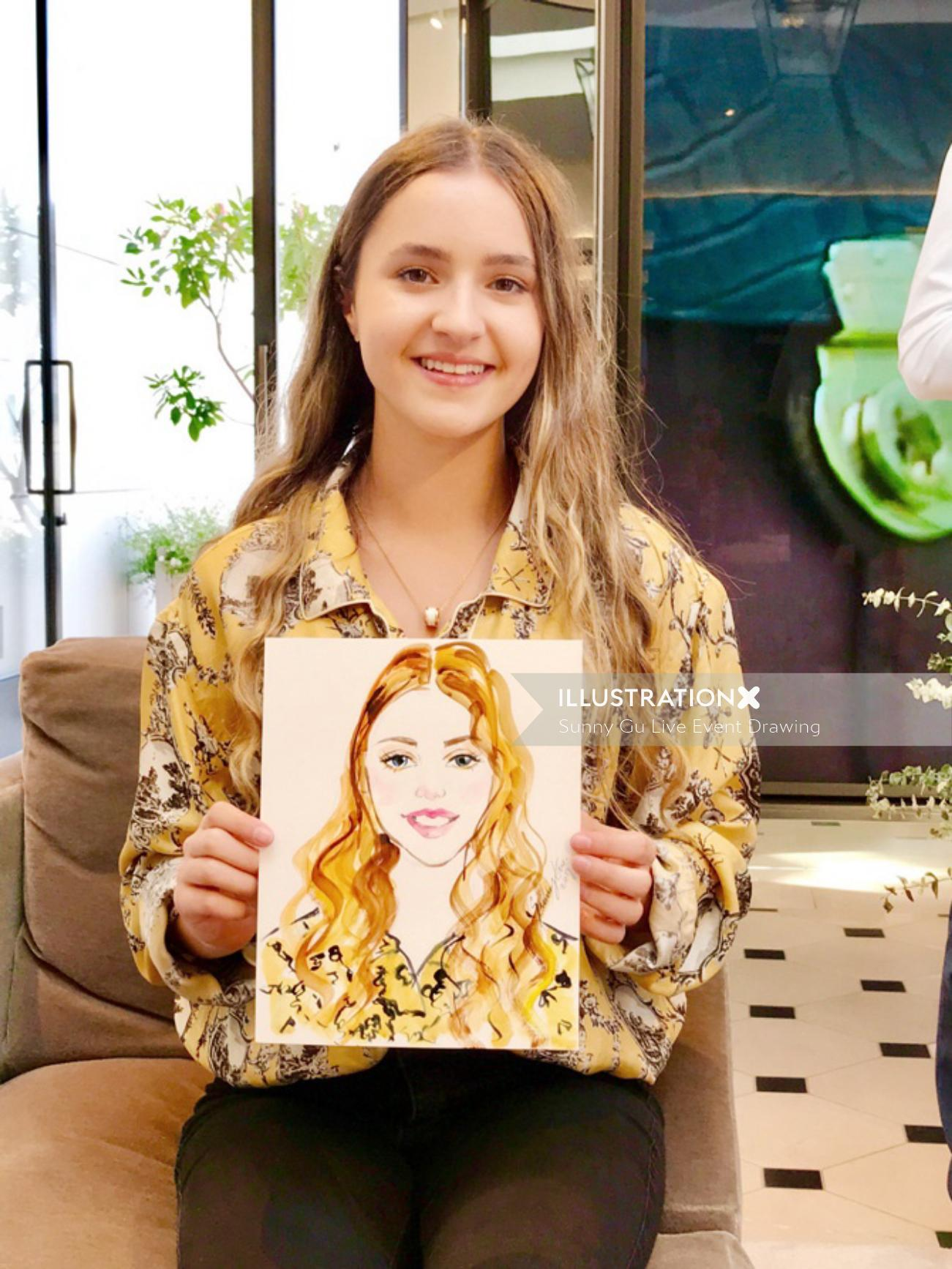 Live event drawing of girl with portrait