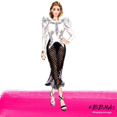 Live event fashion illustration by Sunny Gu