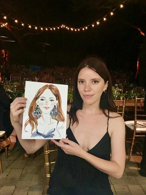 Desenho de evento ao vivo de retrato de beleza
