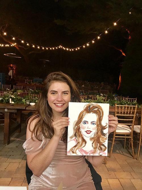 Evento ao vivo com desenho de mulher com pintura