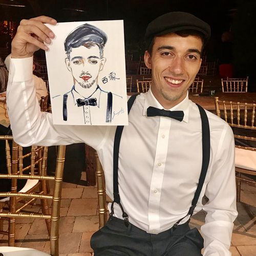 Live event drawing of man in with portrait