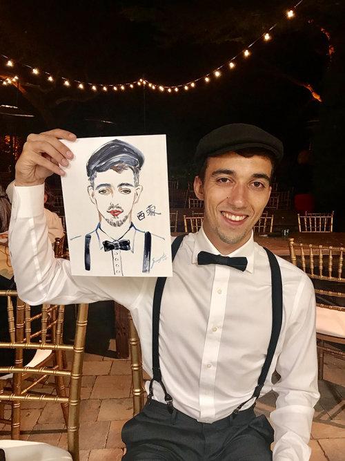 Evento ao vivo com desenho de homem com retrato