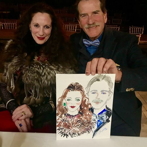 Live event drawing of old couple portrait