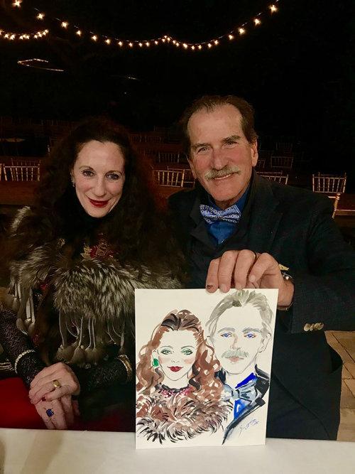 Desenho de evento ao vivo do retrato de um casal de idosos