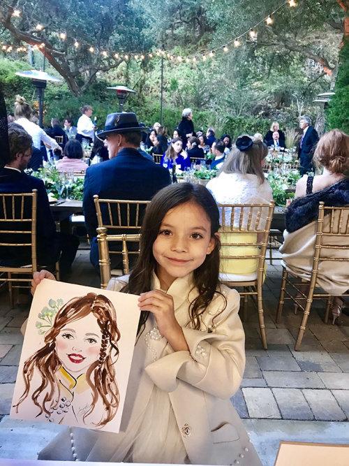 Desenho de evento ao vivo de garota feliz
