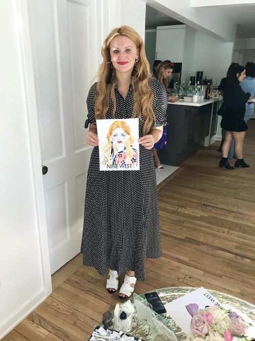 Desenho de evento ao vivo de mulher em vestido pontilhado